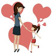 Mom and daughter Stock Illustration