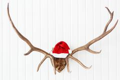 Deer antler with bright red Santa's hat. Christmas detail of home interior. Stock Photos