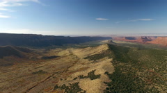 Drone backing away from valley in Moab Stock Footage