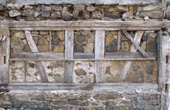 Ancient masonry with half-timbered Stock Photos