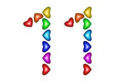 Number 11, eleven made of colorful hearts on white Stock Illustration
