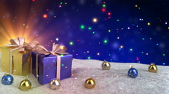 Christmas gifts in snow on blue bokeh background. Seamless loop. 3D render Stock Footage