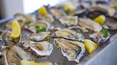 Fresh oysters on ice with lemon slices Stock Footage