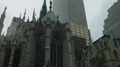 St. Patrick's Cathedral low angle, with cross, Gothic Manhattan, NYC Stock Footage