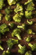 Organic Green Roasted Broccoli Florets Stock Photos