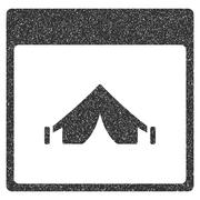 Camping Calendar Page Grainy Texture Icon Stock Illustration