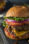 Homemade Cheese Smash Burger Stock Photos
