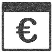 Euro Currency Calendar Page Grainy Texture Icon Stock Illustration