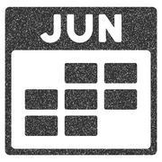 June Calendar Grid Grainy Texture Icon Stock Illustration