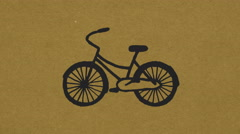 Drawn bicycle on a craft paper Stock Footage
