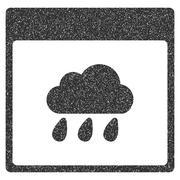Rain Cloud Calendar Page Grainy Texture Icon Stock Illustration