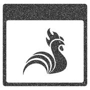 Rooster Calendar Page Grainy Texture Icon Stock Illustration