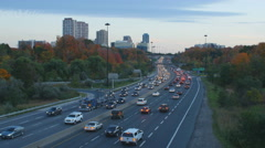 Don Valley Parkway looking south. Autumn in Toronto, Canada. Stock Footage