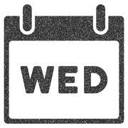 Wednesday Calendar Page Grainy Texture Icon Stock Illustration