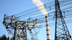 HD 1080 electric power plant closeup Stock Footage