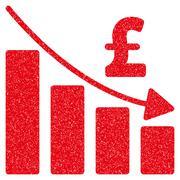 Pound Recession Bar Chart Grainy Texture Icon Stock Illustration