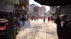 Kathmandu street, Thamel. Some buildings destroyed by earthquake in 2015. Nepal Stock Footage