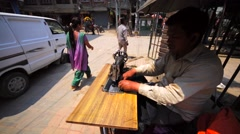 One of many street tailors in Thamel. Kathmandu district. Nepal Stock Footage