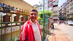 The local man tells about earthquake in Nepal on April 25, 2015. Kathmandu Stock Footage