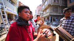 Group of boys plays drums and cymbals at Kathmandu street at Nepalese New Year Stock Footage