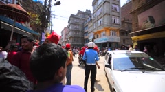 People carry deities in palanquins to each other during Nepal New Year.Kathmandu Stock Footage