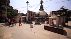 View of Kathmandu stupa in Thamel district of Kathmandu, Nepal Stock Footage