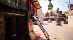 View of Kathesimbu stupa in Thamel district of Kathmandu, Nepal Stock Footage