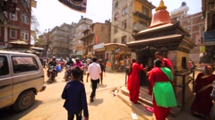 Panoramic view of Thamel street, busy crossroad with cars and bikes. Kathmandu Stock Footage