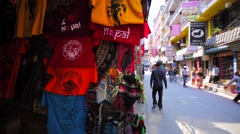 View of t-shirts at Thamel street market, Kathmandu. Nepal Stock Footage