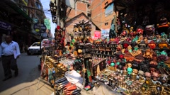 Souvenirs and bijouterie at street market in Thamel, Kathmandu. Nepal Stock Footage