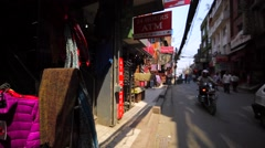 Streets of Thamel with stores with souvenirs, pictures, jewellery, clothes,etc. Stock Footage