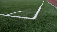 Football Soccer field corner with green artificial sport grass Stock Footage