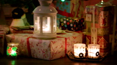 New Years Gift with Candles Background Stock Footage