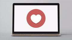 4k - Laptop with heart symbol logo icon sign Stock Footage