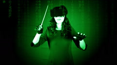 Virtual matrix woman orchestra leader master Stock Footage