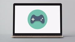 4k - Laptop with gamepad symbol logo icon sign Stock Footage