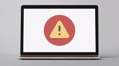 4k - Laptop with warning symbol logo icon sign Stock Footage