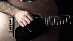 Guitarist hand touching guitar strings. Music performance. 4K video Stock Footage