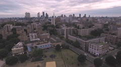 Aerial descending view of the skyline of the city of London Stock Footage