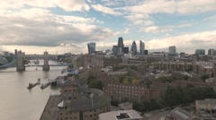 Aerial ascending view of the skyline of the City of London Stock Footage