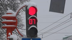 Functioning traffic light covered with snow after heavy snowfall Stock Footage