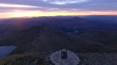 Aerial orbit of Snowdon summit at dawn. Stock Footage