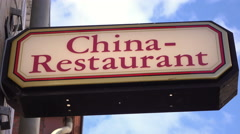 Restaurant serving china cuisine sign on exterior on building 4k Stock Footage