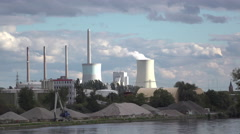 Power Plant with smoke coming from silo in Hanau Germany 4k Stock Footage