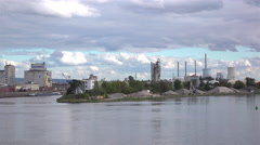 Main river flowing through Hanau with Power Plant in background 4k Stock Footage