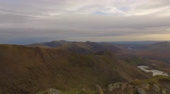 Panning shot of Crib Goch and the Welsh valleys. Stock Footage