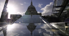 St Paul cathedral in London with clouds reflected in a mirror Stock Footage