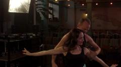 Loving couple dancing hot latin dance, slowmo Stock Footage