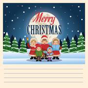 Singing cartoon of Christmas carol design Stock Illustration
