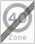 Road sign used in Denmark - End of maximum speed limit zone Stock Illustration
